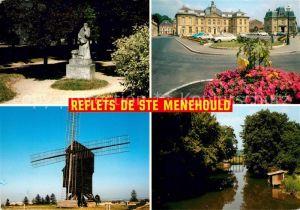 AK / Ansichtskarte Sainte Menehould Statue de Dom Perignon Place Hotel de Ville Moulin de Valmy Bords de l Aisne Kat. Sainte Menehould