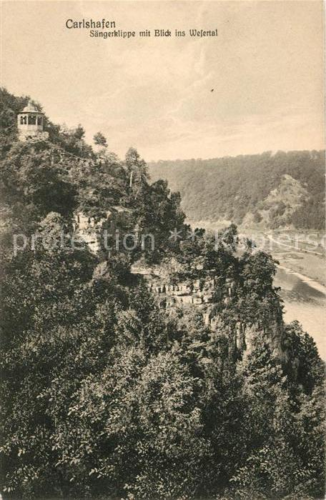 AK / Ansichtskarte Carlshafen Saengerklippe mit Blick ins Wesertal Kat. Bad Karlshafen