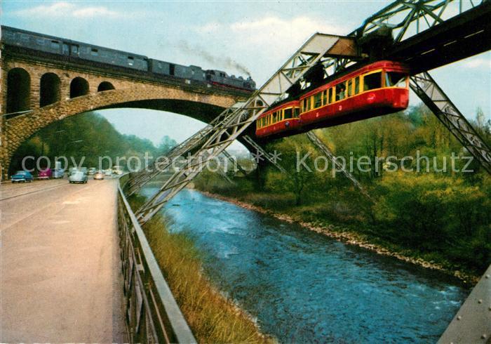 AK / Ansichtskarte Sonnborn Elberfeld Sonnborner Bruecke Eisenbahnbruecke Dampflokomotive Schwebebahn Kat. Wuppertal