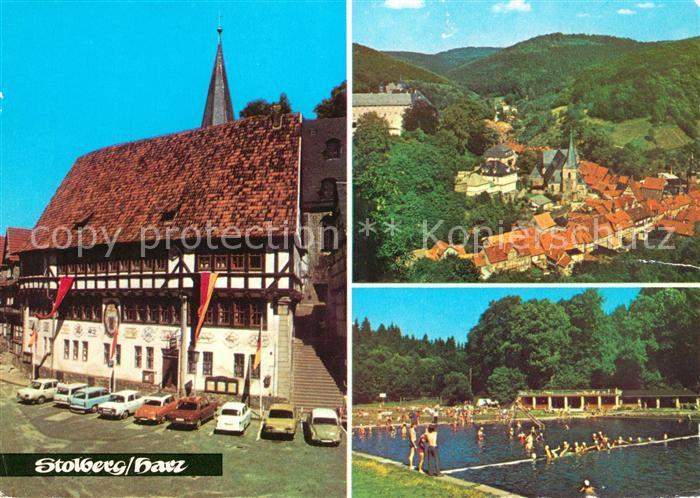 AK / Ansichtskarte Stolberg Harz Rathaus Waldbad Freibad Landschaftspanorama Kat. Stolberg Harz