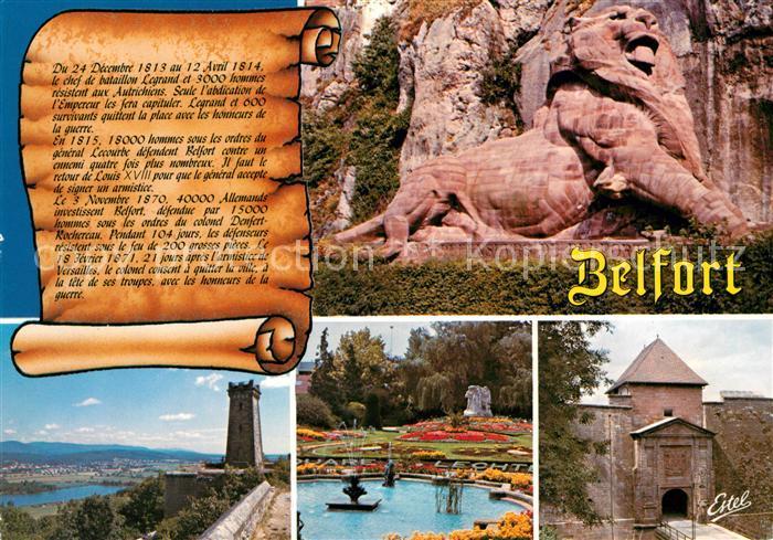 AK / Ansichtskarte Belfort Alsace Le Lion oeuvre de Bartholdi Tour de la Miotte Square E. Lechten Porte de Brisach Kat. Belfort