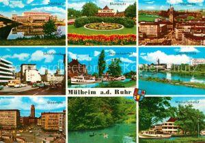 AK / Ansichtskarte Muelheim Ruhr Stadthalle Blumenuhr Stadtmitte Schlossstrasse Wasserbahnhof Schlossbruecke Witthausbusch Kat. Muelheim an der Ruhr