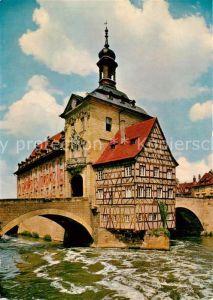 AK / Ansichtskarte Bamberg Altes Rathaus Fachwerk Historisches Gebaeude Regnitz Bruecke Kat. Bamberg