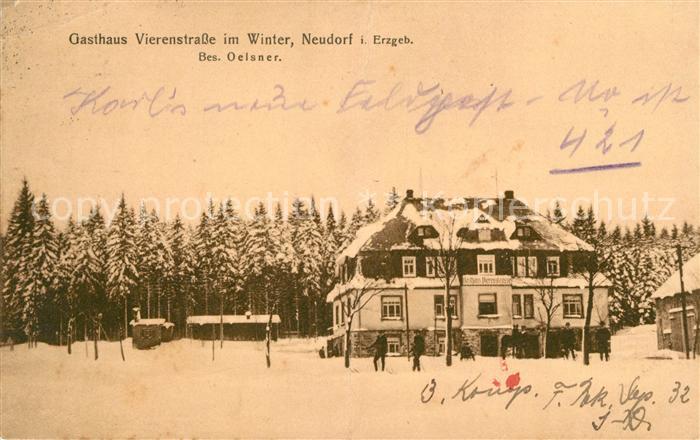AK / Ansichtskarte Neudorf Erzgebirge Gasthaus Vierenstrasse  Kat. Oberwiesenthal