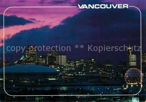 AK / Ansichtskarte Vancouver British Columbia B.C. Place Stadium and Expo Centre Theatre Eastern Skyline at night Kat. Vancouver