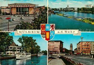 AK / Ansichtskarte Muelheim Ruhr Stadthalle Schlossbruecke Wasserbahnhof City Kat. Muelheim an der Ruhr