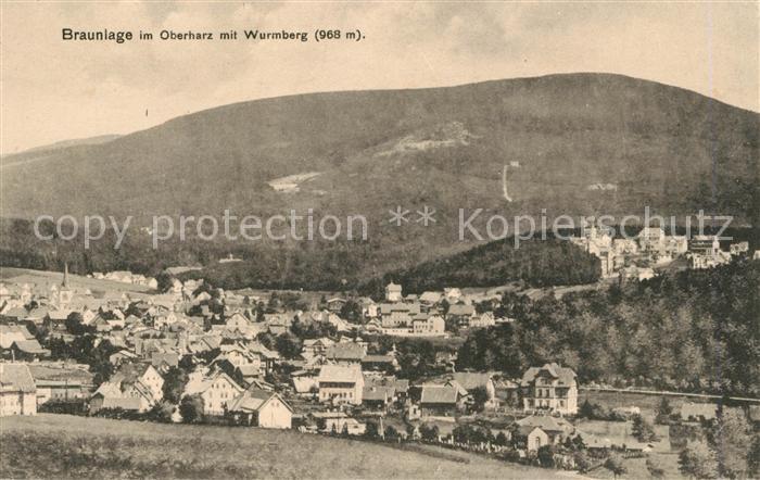 AK / Ansichtskarte Braunlage Oberharz mit Wurmberg Kat. Braunlage Harz