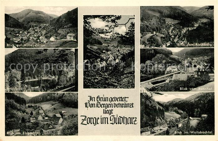 AK / Ansichtskarte Zorge Panorama Kirchbergblick Waldbad Elsbachtal Bahnhof Wolfsbachtal Kat. Zorge