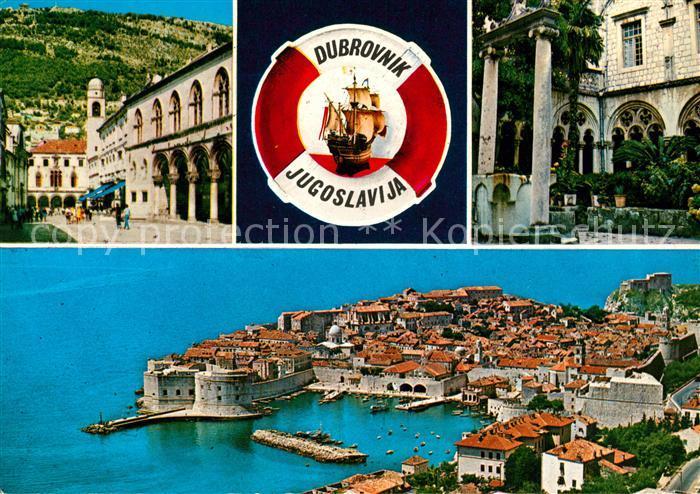 AK / Ansichtskarte Dubrovnik Ragusa Innenstadt Altstadt Hafen Rettungsring Segelschiff Kat. Dubrovnik