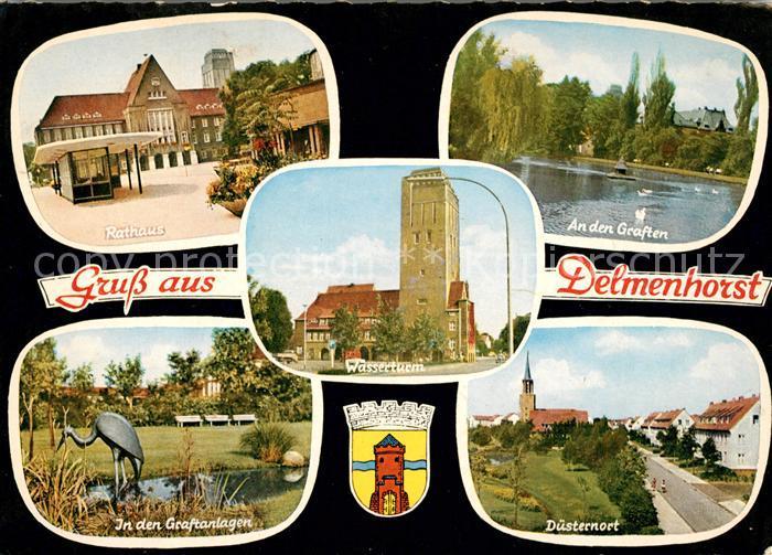 AK / Ansichtskarte Delmenhorst Rathaus Graften Graftanlagen Duesternort Wasserturm Kat. Delmenhorst