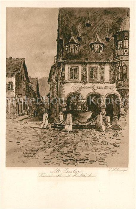 Alt Goslar Kaiserworth mit Marktbrunnen Kat. Goslar