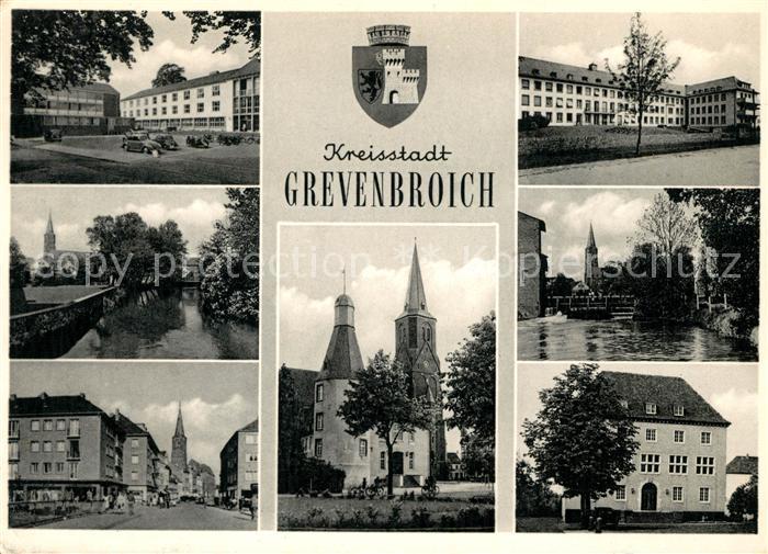 AK / Ansichtskarte Grevenbroich Teilansichten Kreisstadt Kirche Partie am Fluss Kat. Grevenbroich