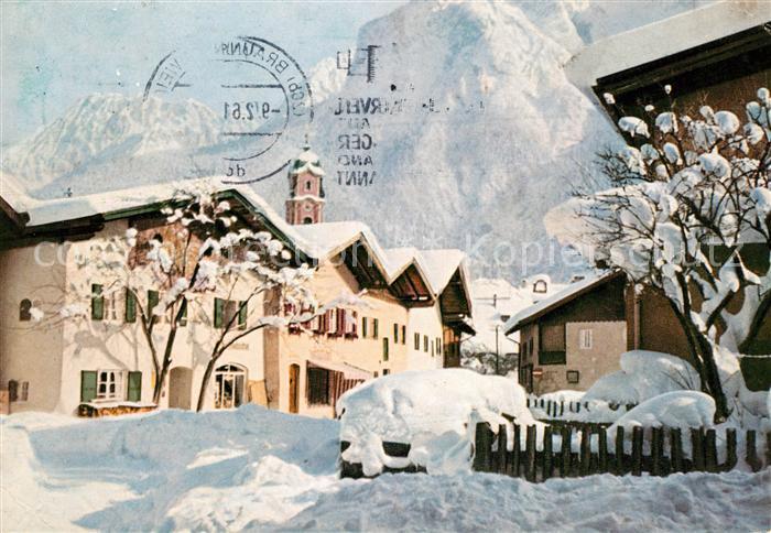 AK / Ansichtskarte Mittenwald Bayern Ortspartie im Winter Kat. Mittenwald