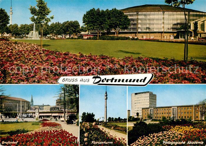 AK / Ansichtskarte Dortmund Westfalenhalle Park Grafenhof Florianturm Paedagogische Akademie Kat. Dortmund