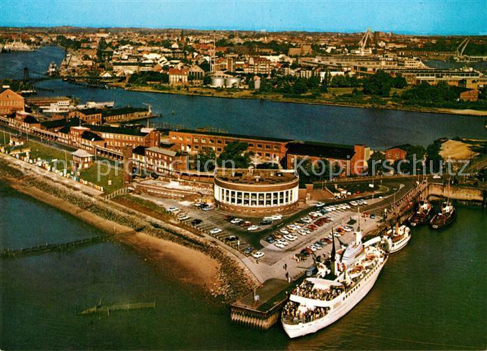 AK / Ansichtskarte Wilhelmshaven Fliegeraufnahme Suedstrand Strandhalle Motorschiff Fliegeraufnahme Kat. Wilhelmshaven