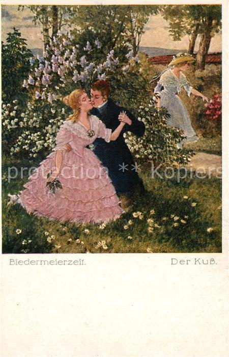 AK / Ansichtskarte Kuenstlerkarte Biedermeierzeit Der Kuss  Kat. Kuenstlerkarte