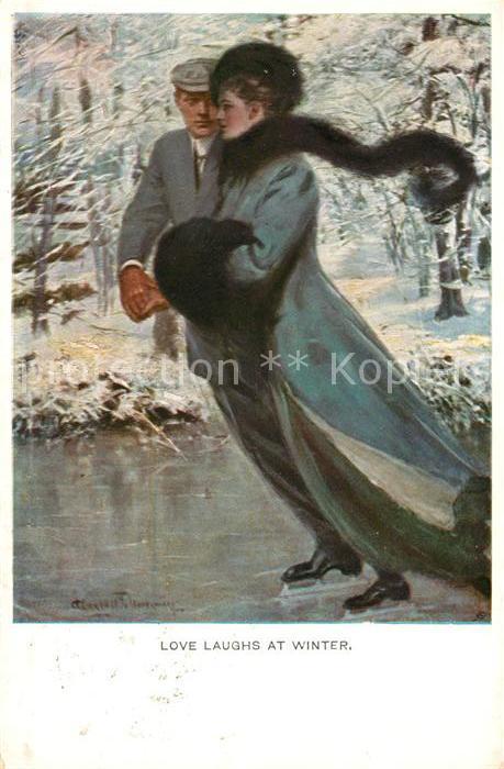 AK / Ansichtskarte Munk M. Wien Vienne Nr. 742 Love laughs at Winter Schlittschuhlaufen  Kat. Kuenstlerkarte
