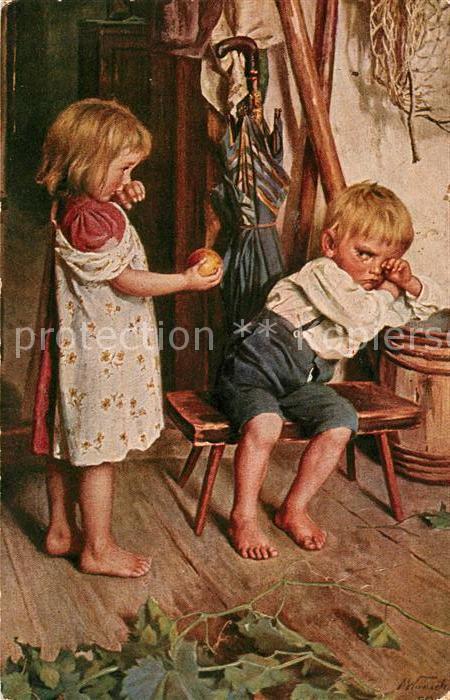 AK / Ansichtskarte Kuenstlerkarte M. Wunsch Sei wieder gut Kinder  Kat. Kuenstlerkarte