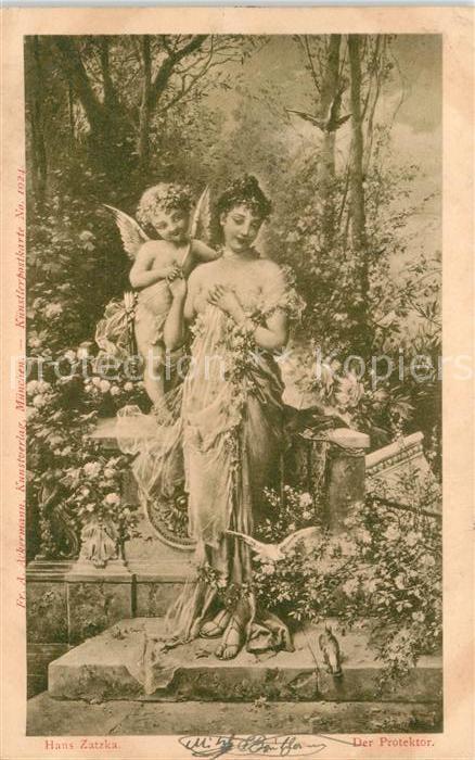 AK / Ansichtskarte Zatzka H. Der Protektor Engel Frau Kat. Kuenstlerkarte