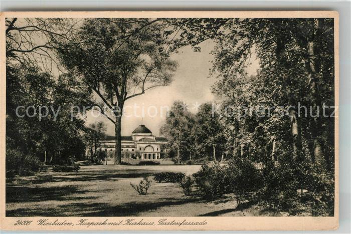 Ak Ansichtskarte Wiesbaden Kurpark Mit Kurhaus Und Garten Kat