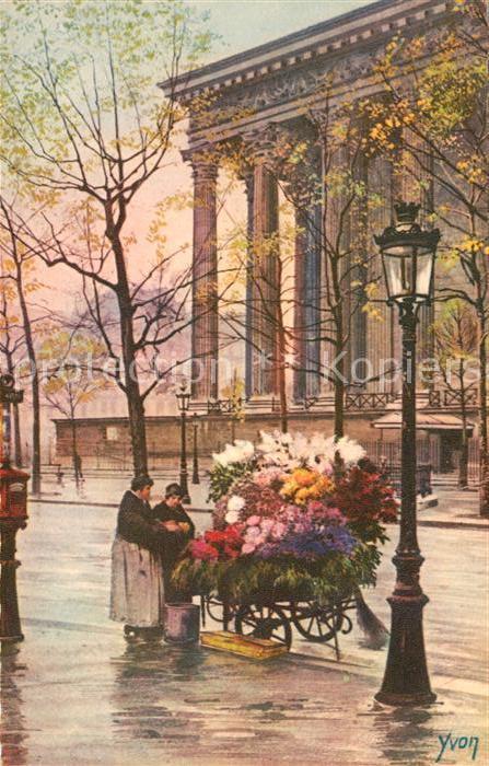 AK / Ansichtskarte Paris Marchande de Fleurs Place de la Madelein Blumen Frauen Kuenstlerkarte Yvon Kat. Paris