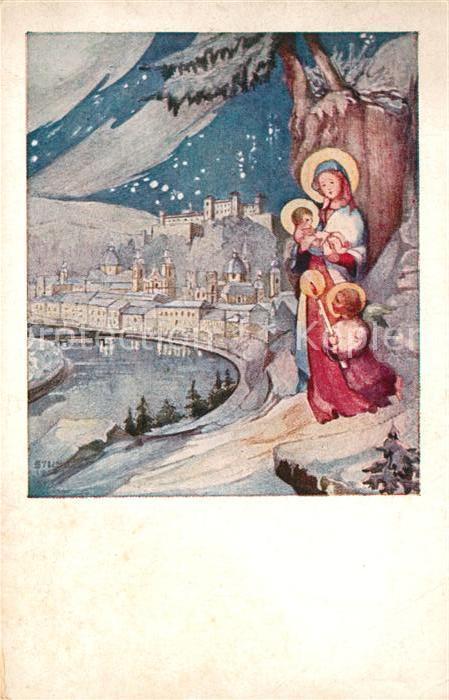 AK / Ansichtskarte Weihnachten Neujahr Christkind Engel Kat ...