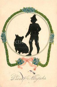 AK / Ansichtskarte Scherenschnitt Schattenbildkarte Neujahr Schwein Vergissmeinnicht Litho Kat. Besonderheiten
