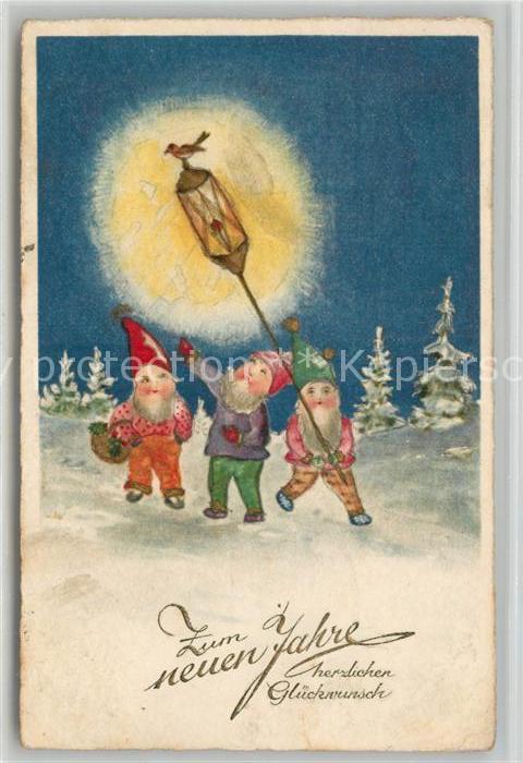 AK / Ansichtskarte Zwerge Neujahr Laterne Vogel  Kat. Maerchen und Sagen