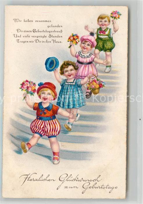 Ak Ansichtskarte Geburtstag Kinder Blumen Hut Gedicht Litho Kat