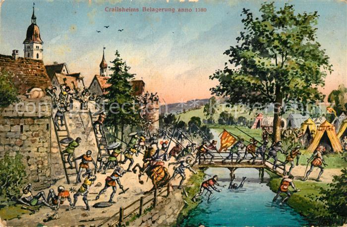 AK / Ansichtskarte Crailsheim Belagerung anno 1380 Kuenstlerkarte Kat. Crailsheim