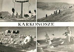AK / Ansichtskarte Karkonosze Winter im Riesengebirge Wintersport Skifahrer Kat. Polen