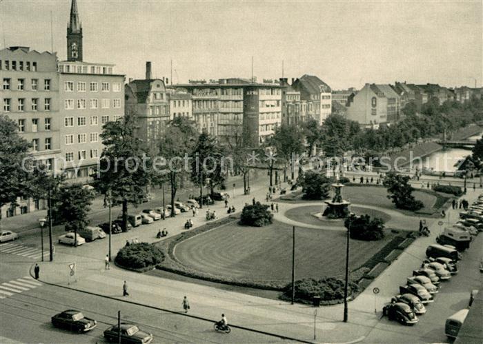AK / Ansichtskarte Duesseldorf Corneliusplatz mit Koenigsallee Brunnen Kat. Duesseldorf
