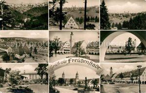 AK / Ansichtskarte Freudenstadt Teilansichten Luftkurort Schwarzwald Marktplatz Brunnen Kurhaus Kirche Kat. Freudenstadt