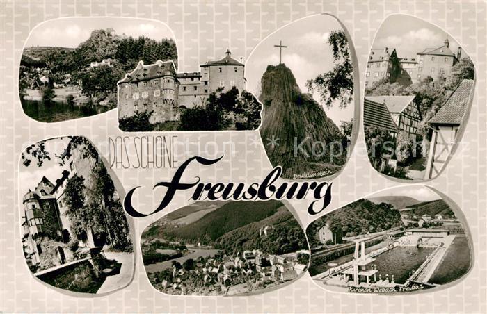 AK / Ansichtskarte Freusburg Teilansichten Schloss Landschaftspanorama Druidenstein Gipfelkreuz Freibad Kat. Kirchen (Sieg) 0