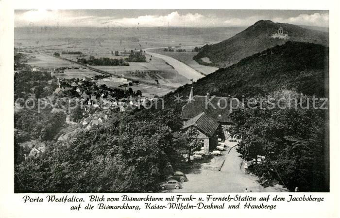 AK / Ansichtskarte Porta Westfalica Panorama Blick vom Bismarckturm Jacobsberg Bismarckburg Kaiser Wilhelm Denkmal Hausberge Kat. Porta Westfalica