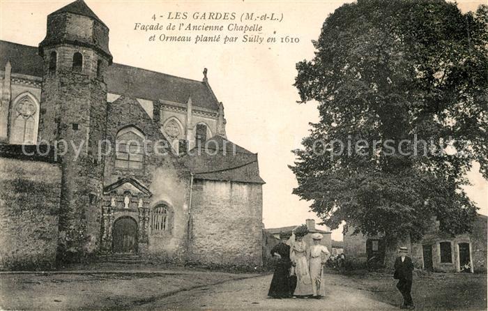 AK / Ansichtskarte Les Gardes Facade de l'Ancienne Chapelle et Ormeau plante par Sully en 1610 Kat. Saint Georges des Gardes