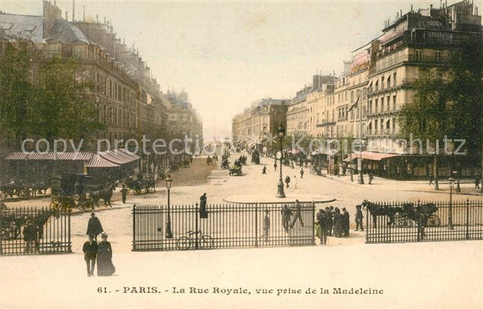 AK / Ansichtskarte Paris La Rue Royale vue prise de la Madeleine Kat. Paris