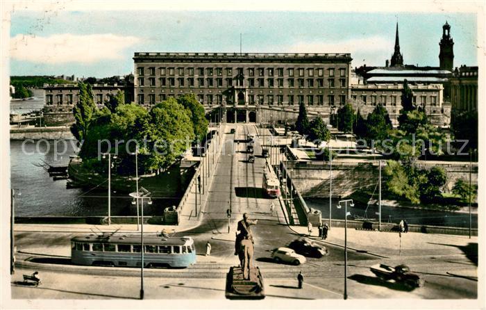AK / Ansichtskarte Strassenbahn Stockholm Royal Palace North Bridge Kat. Strassenbahn