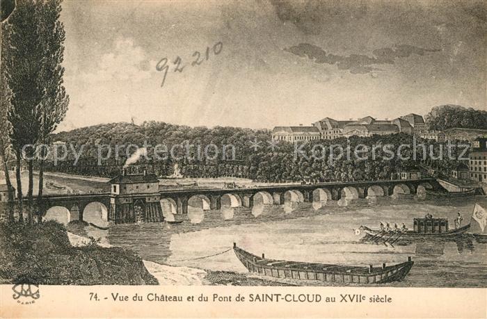 AK / Ansichtskarte Saint Cloud Vue du Chateau et du Pont de Saint Cloud