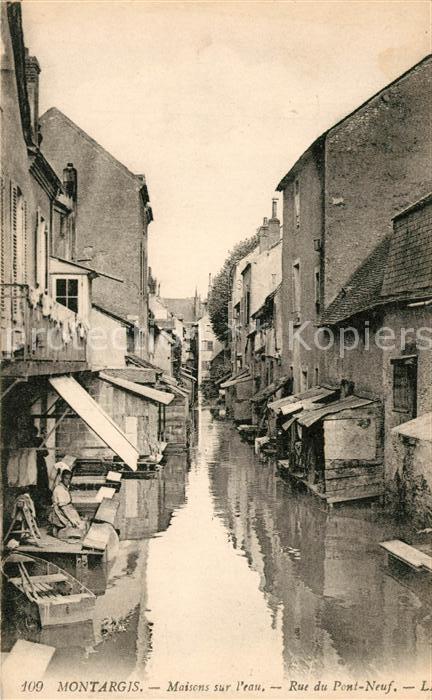 AK / Ansichtskarte Montargis Loiret Maisons su l`eau Rue du Pont Neuf Kat. Montargis