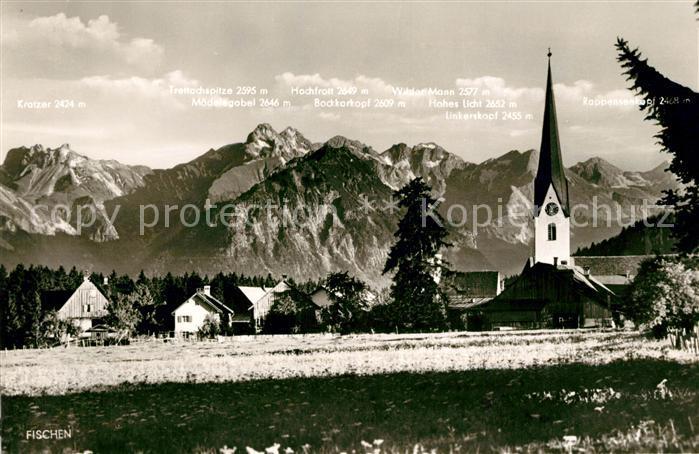 AK / Ansichtskarte Fischen Allgaeu Ortsansicht mit Kirche Bergpanorama Alpen Kat. Fischen i.Allgaeu