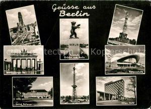 AK / Ansichtskarte Berlin Kaiser Wilhelm Gedaechtniskirche Brandenburger Tor Schloss Bellevue Autobahn Einfahrt nach Berlin Berliner Baer Siegessaeule Kongresshalle Hilton Hotel Funkturm Kat. Berlin