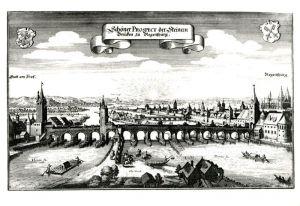 AK / Ansichtskarte Regensburg um 1657 Steinerne Bruecken nach Kupferstich von Matthaeus Merian Kuenstlerkarte Kat. Regensburg