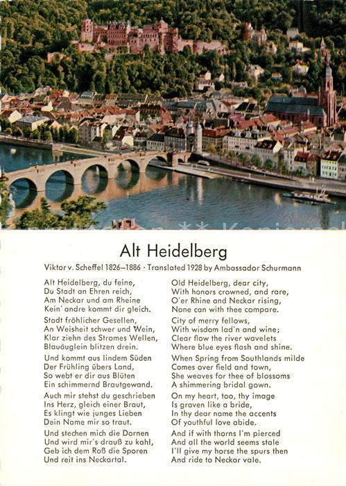 Ak Ansichtskarte Gedicht Auf Ak Viktor Von Scheffel Alt Heidelberg Kat Lyrik