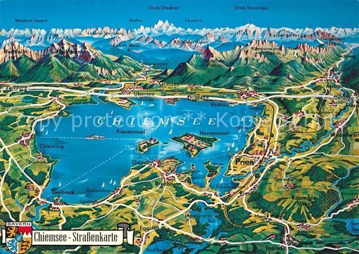 AK / Ansichtskarte Panoramakarte Strassenkarte Chiemsee  Kat. Besonderheiten