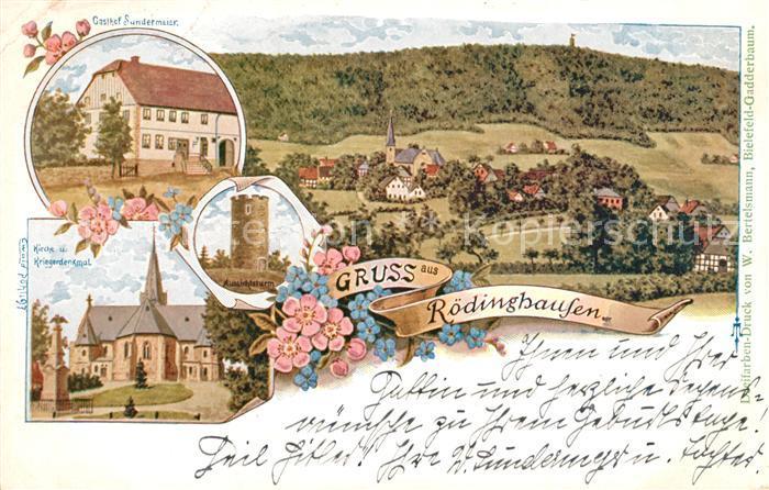 AK / Ansichtskarte Roedinghausen Kirche Kriegerdenkmal Gasthaus Kat. Roedinghausen 0