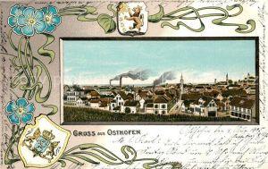AK / Ansichtskarte Osthofen Rheinhessen Panorama Wappen  Kat. Osthofen