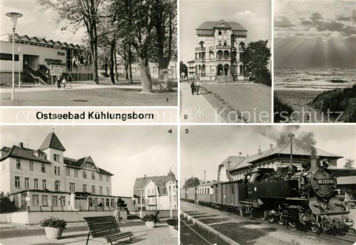 AK / Ansichtskarte Kuehlungsborn Ostseebad FDGB Meerwasserschwimmhalle FDGB Erholungsheim Strand FDGB Cafe Molli Dampflokomotive Kat. Kuehlungsborn