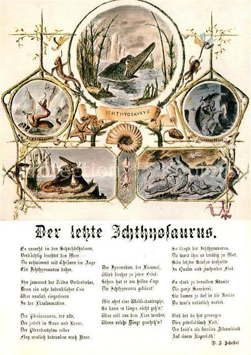 Ak Ansichtskarte Dinosaurier Der Letzte Ichthyosaurus Gedicht Viktor Von Scheffel Kat Tiere