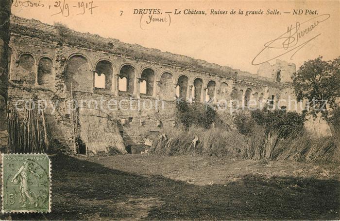 AK / Ansichtskarte Druyes les Belles Fontaines Chateau Ruines de la grande Salle Kat. Druyes les Belles Fontaines